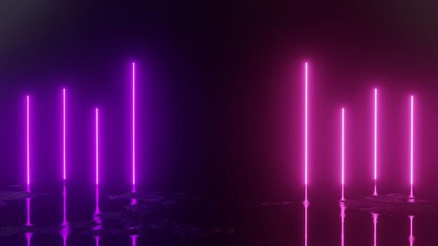 3d rendem com luzes de néon no fundo abstrato preto Foto Premium