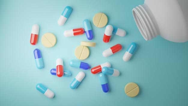 3d rendem. comprimidos sortidos comprimidos de medicamento farmacêutico e cápsulas em azul. Foto Premium