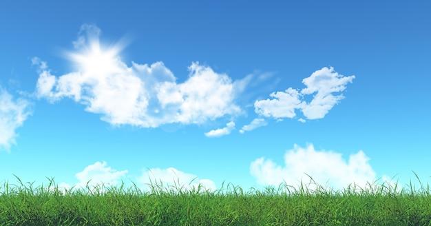 3d rendem de grama verde e céu azul Foto gratuita