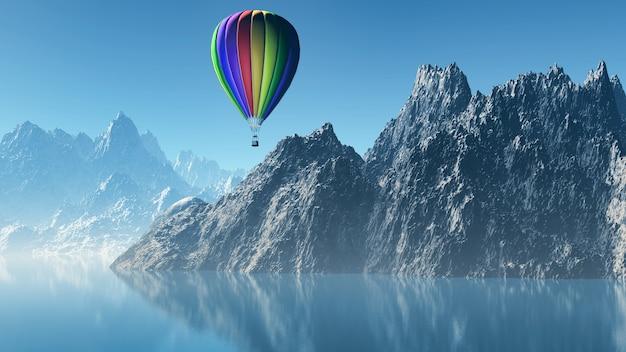 3d rendem de um balão de ar quente que flutua sobre montanhas altas Foto gratuita