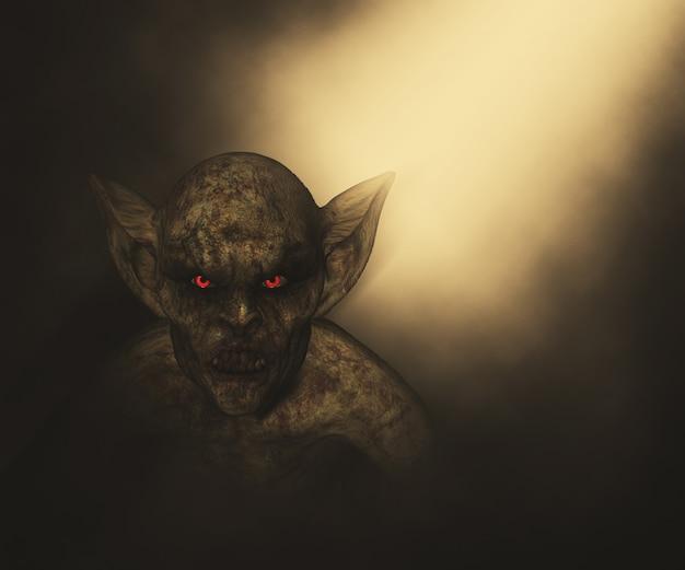 3d rendem de um demônio halloween Foto gratuita