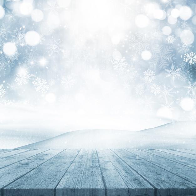 3d rendem de um fundo do natal com mesa de madeira com vista para uma cena nevado Foto gratuita