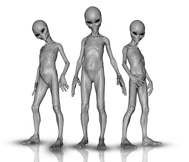 3d rendem de um grupo de alienígenas Foto gratuita