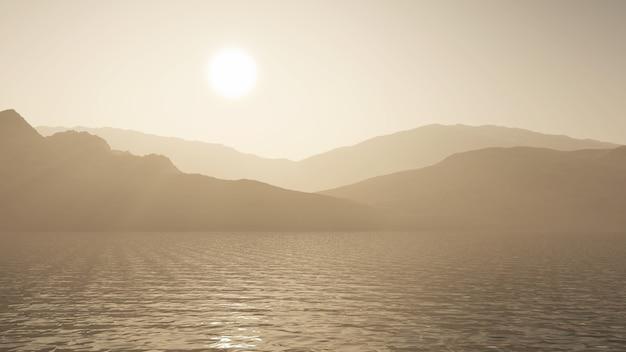 3d rendem de um oceano contra uma paisagem de montanha em tons de sépia Foto gratuita