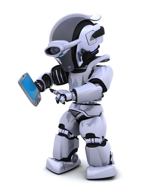 3d rendem de um personagem robô witha um piloto de palma Foto gratuita