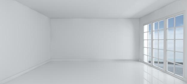3d rendem de um quarto vazio com o windows Foto gratuita
