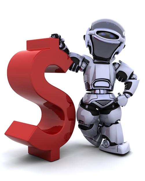 3d rendem de um robô com um símbolo Foto gratuita