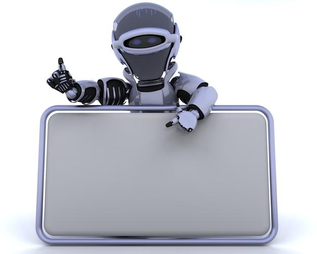 3d rendem de um robô e sinal em branco Foto gratuita