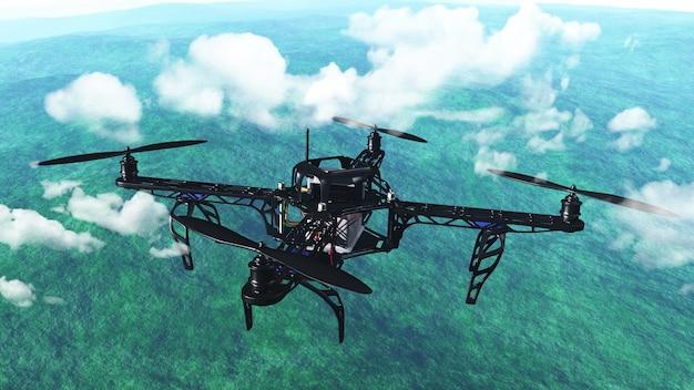 3d rendem de um robô voando acima das nuvens Foto gratuita