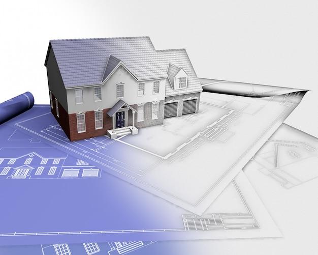 3d rendem de uma casa em modelos com metade em fase de esboço Foto gratuita