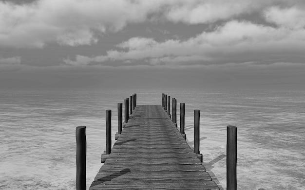 3d rendem de uma imagem preto e branco de um molhe vai para o mar Foto gratuita