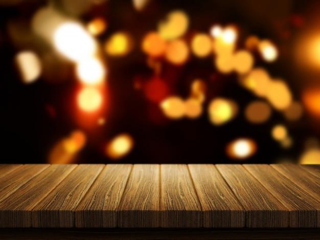 3d rendem de uma mesa de madeira com um defocussed luzes do bokeh de natal no fundo Foto gratuita