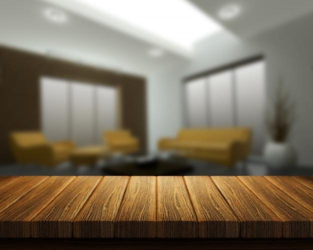 3d Rendem De Uma Mesa De Madeira Com Um Interior Quarto No