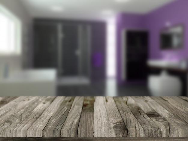 3d rendem de uma mesa de madeira com uma casa de banho defocussed em segundo plano Foto gratuita