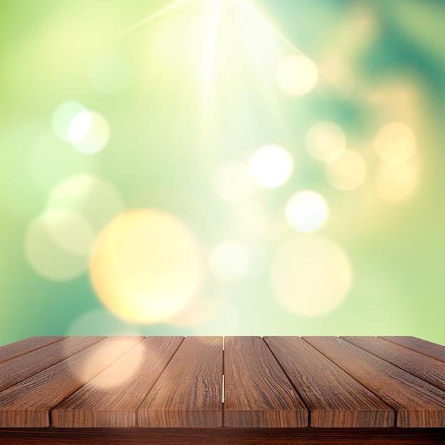 3d rendem de uma mesa de madeira contra um fundo defocussed Foto gratuita