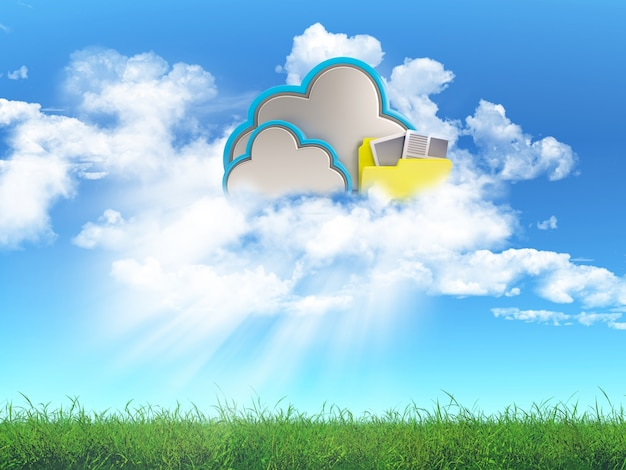 3d rendem de uma paisagem grama com um conceito de armazenamento em nuvem Foto gratuita