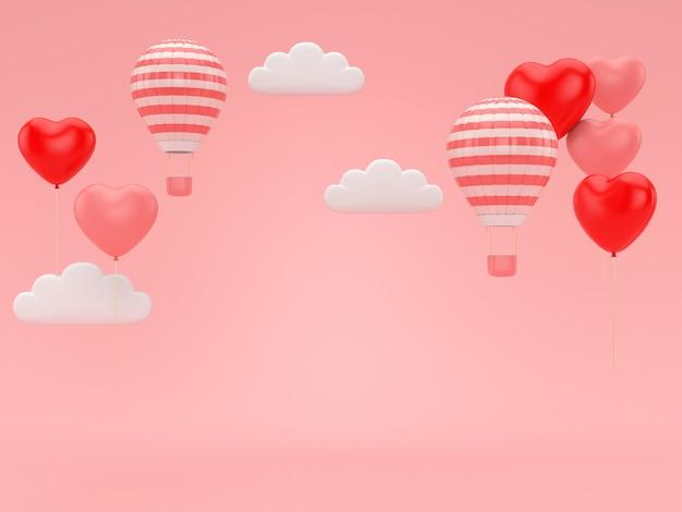 3d rendem do balão do valentim que flutua no fundo romance cor-de-rosa. Foto Premium