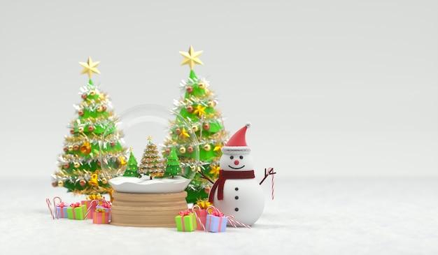 3d rendem do globo de neve de natal com boneco de neve e árvores. renderização 3d Foto Premium