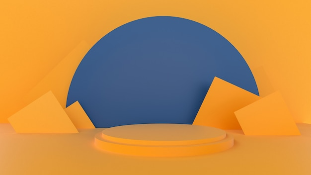 3d rendem do pódio abstrato amarelo para apresentação do produto Foto Premium