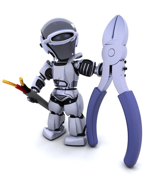 3d rendem do robô com cortadores de fio e cabo Foto gratuita