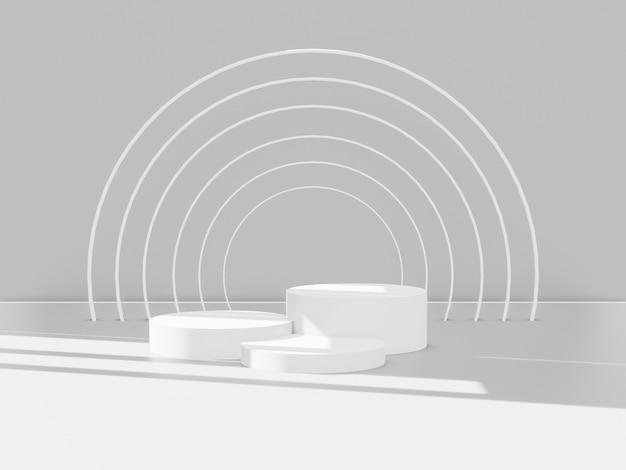 3d rendem do total de pódios brancos para produtos. plataforma vencedora. Foto Premium
