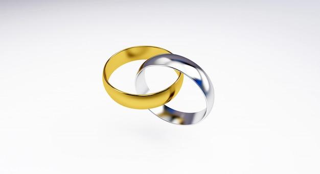 3d rendem dos anéis de casamento isolados no fundo branco; alianças de ouro, prata Foto Premium