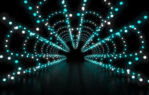 3d rendem. fundo abstrato da forma com luzes de néon verdes Foto Premium