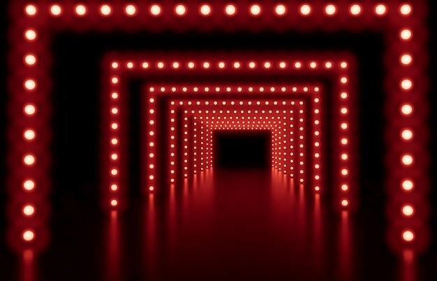 3d rendem. fundo abstrato da forma com luzes de néon vermelhas Foto Premium