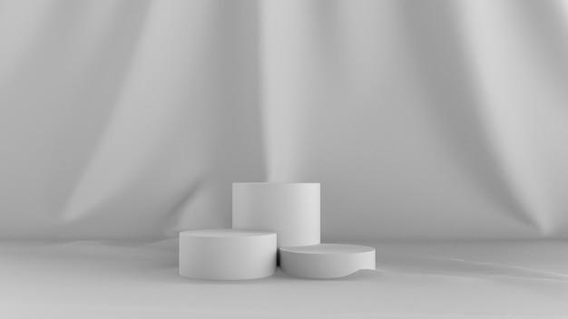 3d rendem o fundo branco abstrato. com um show de palco e pano nas costas. Foto Premium