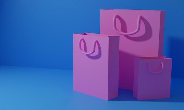 3d rendem o saco de compras, compras on-line e o conceito de dia dos namorados. ilustração 3d 3d rendido Foto Premium