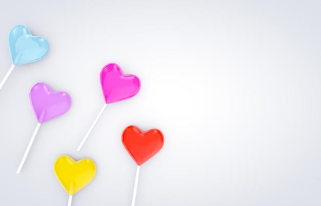 3d rendem. os doces doces do pirulito da forma do coração do dia de valentim no branco isolaram o fundo. Foto Premium