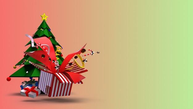 3d rendem para o conceito do natal e do ano novo feliz. consiste em árvores de natal, caixas de presente e belos brinquedos que explodem. Foto Premium