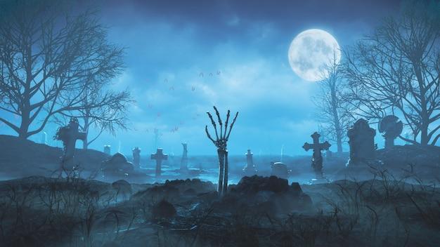 3d render a mão do zumbi rasteja para fora do chão à noite contra o fundo da lua no cemitério Foto Premium