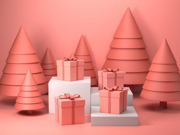 3d render da caixa de presente rosa no dia de natal Foto Premium