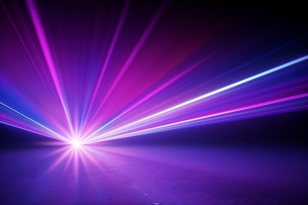 3d render da iluminação do palco brilhando os raios estelares com efeito de reflexo de lente Foto Premium