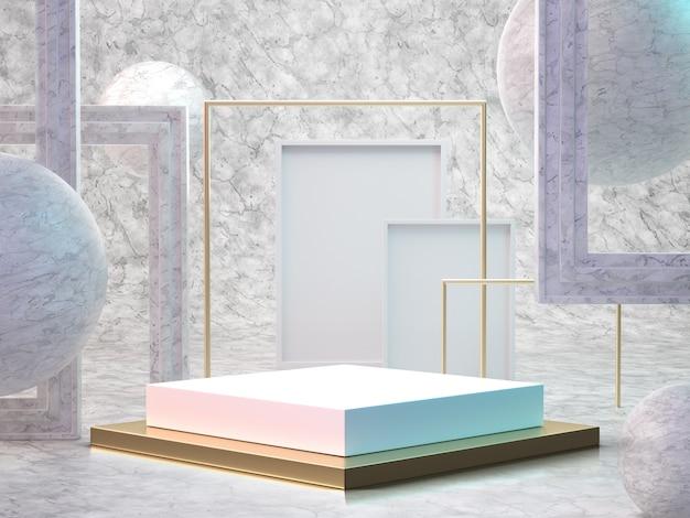 3d render da sala de mármore com pódio Foto Premium