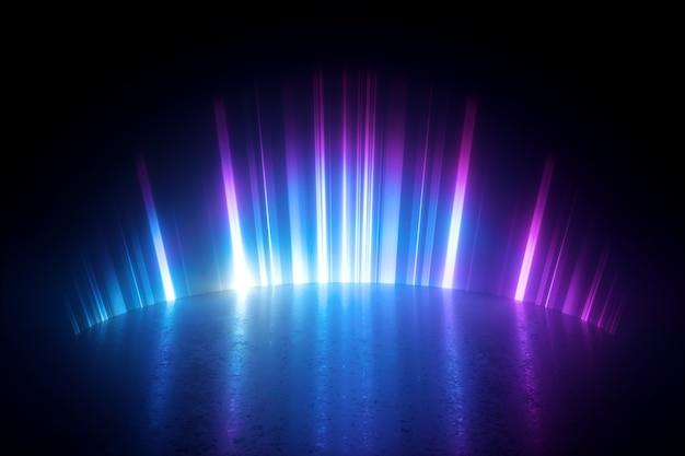 3d render de ilustração digital com luz de néon abstrata. Foto Premium