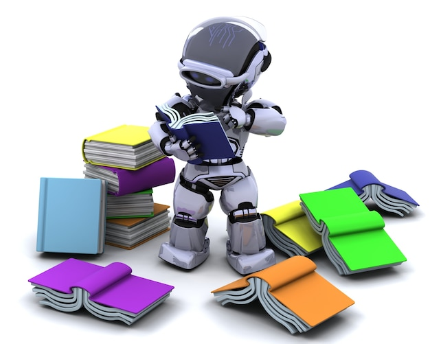 3d render de robô com livros Foto gratuita