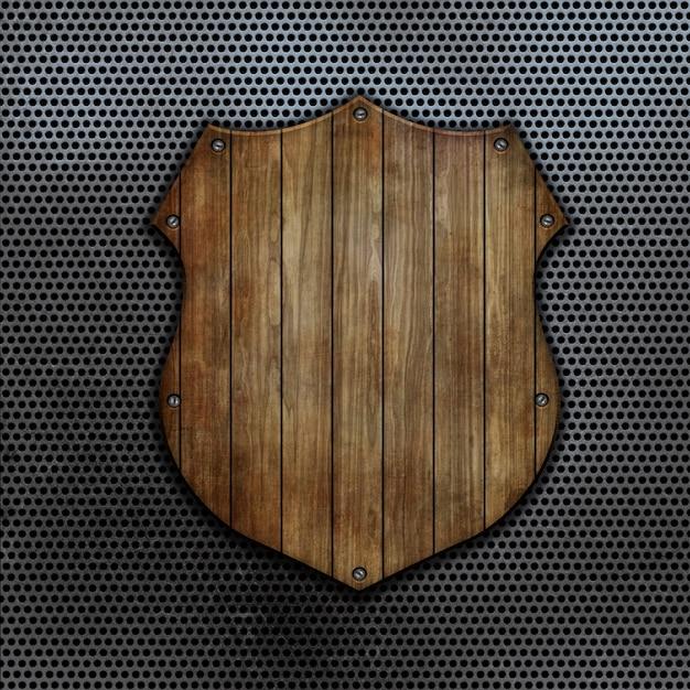3d render de um escudo de madeira em um fundo de metal perfurado Foto gratuita
