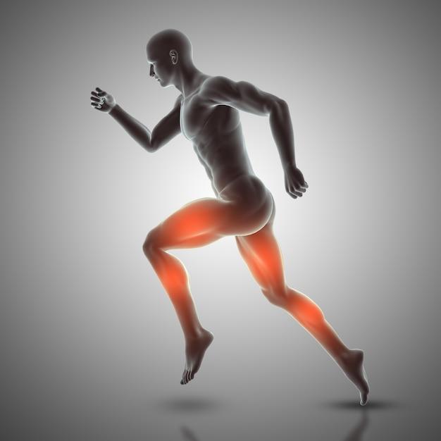 3d render de uma figura masculina em pose de corrida mostrando músculos usados Foto gratuita