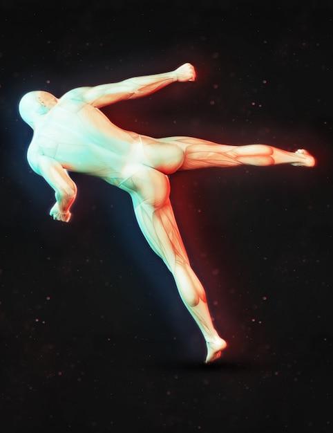 3d render de uma figura masculina em um kick boxing pose com efeito de cor dupla Foto gratuita