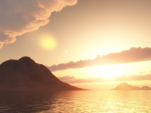 3d render de uma montanha no oceano contra o pôr do sol Foto gratuita