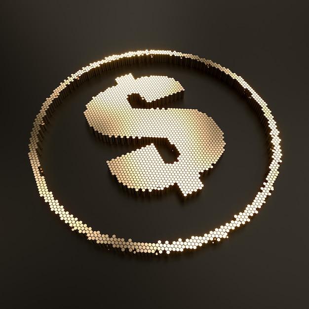 3d render do símbolo do dólar de ouro Foto Premium