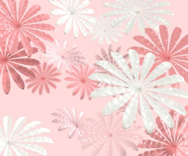 3d render estilo minimalista com flores Foto Premium