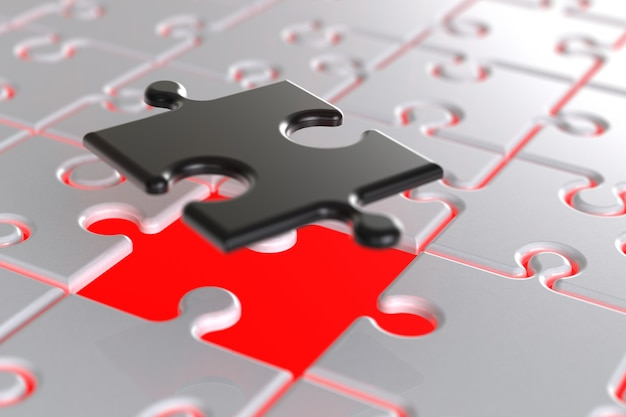 3d render jigsaw background. Foto Premium