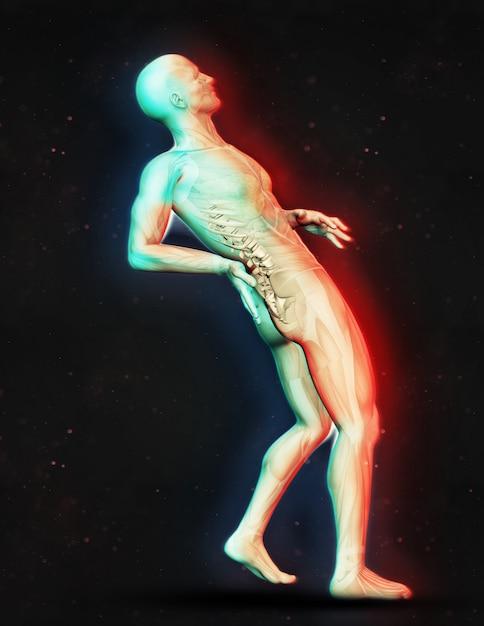 3d, render, macho, figura, segurando, costas, dor ... Foto gratuita