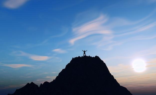 3d, render, macho, figura, topo, montanha, segurando, braços, cima, sucesso Foto gratuita