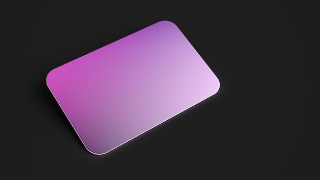 3d render nome cartão roxo rosa brilho em preto Foto Premium