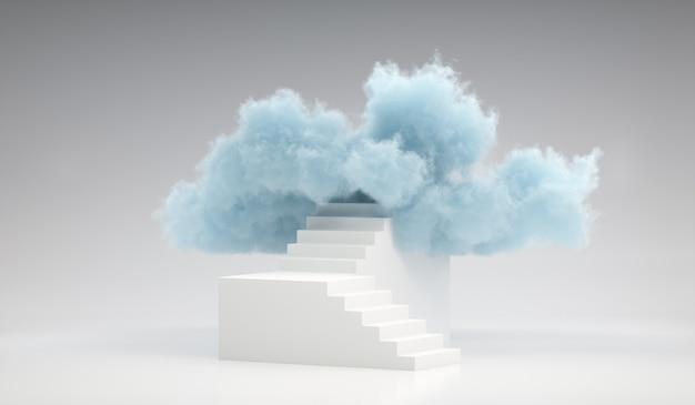 3d render nuvem azul no topo da escada branca. cena mínima de escada para colocação de produto Foto Premium