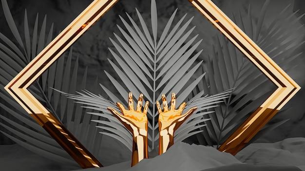 3d render, ouro mãos femininas com moldura e folhas de palmeira em fundo preto. Foto Premium
